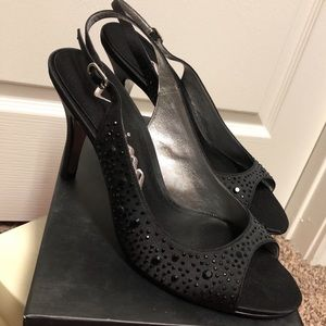 NEW Nina black rhinestone heels